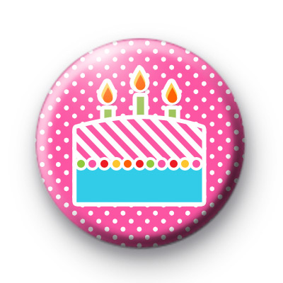 Pink Cake With Candles Badge