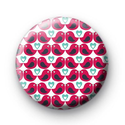 Pink Bird Pattern Button Bagdes