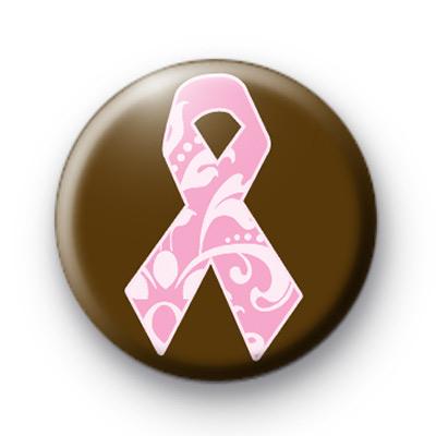 Pink Pattern Breast Cancer Ribbon Badge