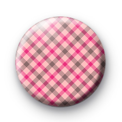 Pink and Brown Plaid Badges