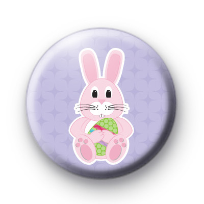 Pink Easter Bunny Badge