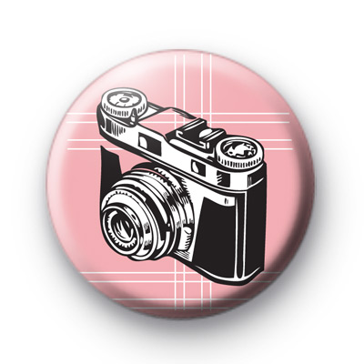 Pink Camera Button Badges