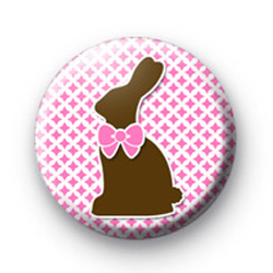 Pink Choccy Bunny Badge