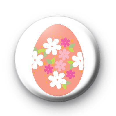 Pink Floral Easter Egg Badge