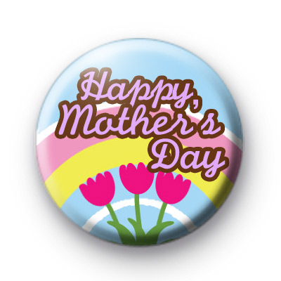 Happy Mothers Day Pink Flowers Badge