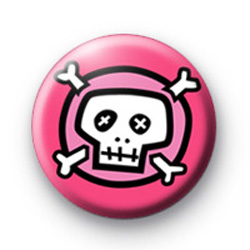 Cute Pink Skull badge