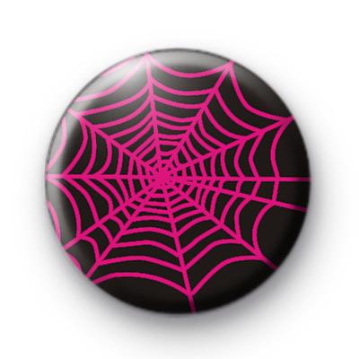 Pink Halloween Spiders Web Badge