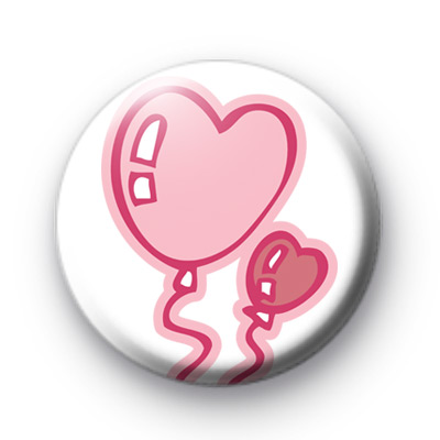 Pink Love Heart Balloon Badges