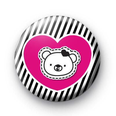 Pink Heart Bear Badge