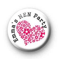 Custom Pink Heart Hen Party Badge