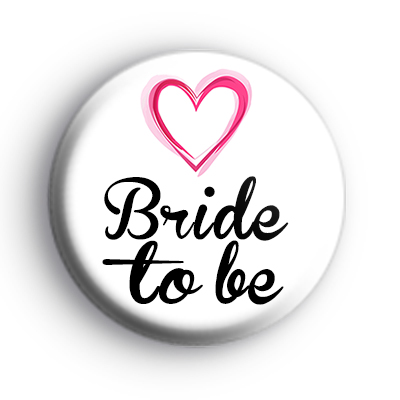 Pink Love Hearts Bride To Be Badge
