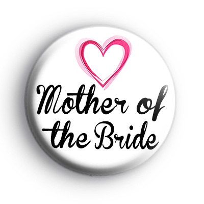 Pink Hearts Mother of The Bride Badge