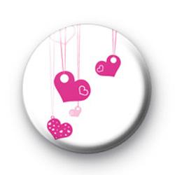 Pink Hearts Ribbon Badge