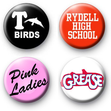 Set of 4 Grease Button Badges