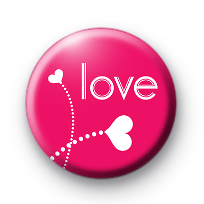 Love Heart Flowers Button Badge