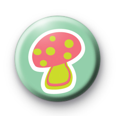 Pink Toadstool Button Badges