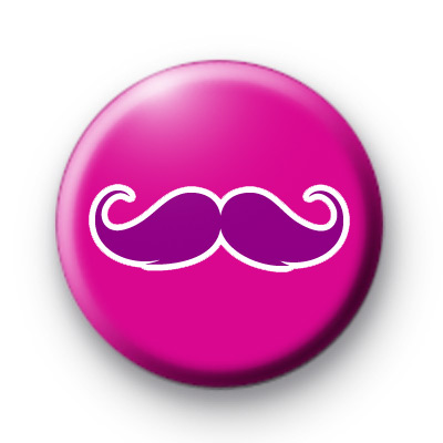 Pink on Pink Moustache Button Badges Movember