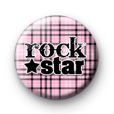 Pink Plaid Rock STAR Badge