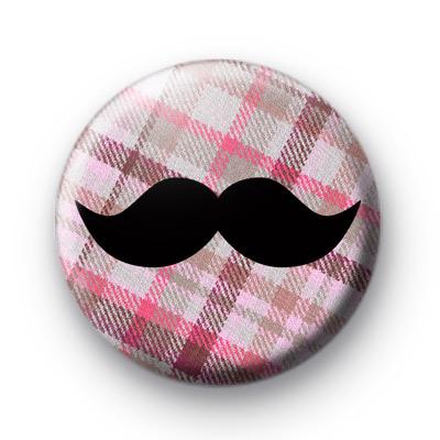 Pink Plaid Pattern Movember Tash badge