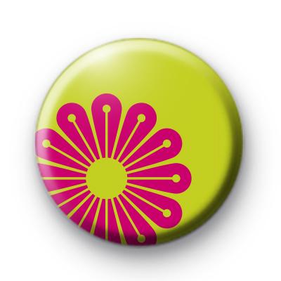 Pink Floral POP Pin Badge