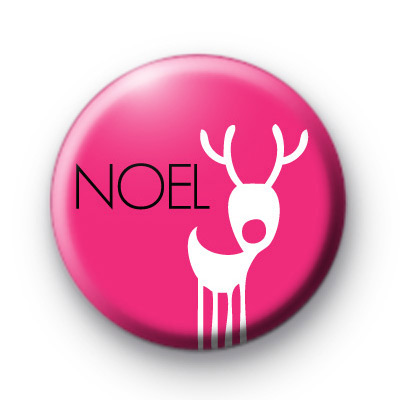 Bright Pink Noel Reindeer Badge