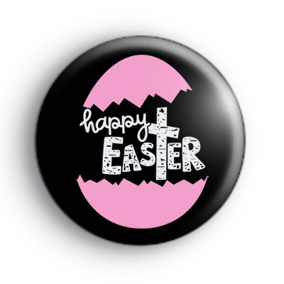 Pink Religious Happy Easter Badge