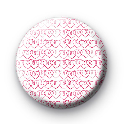 Pink Scribble Love Hearts Badge