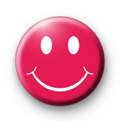 Happy Smiley Face Pink badge