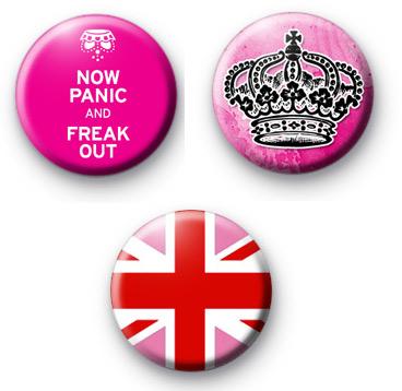 Set of 3 Pink Royal Themed Badges