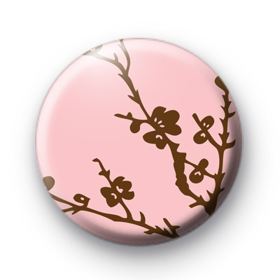 Brown and Pink Blossom Pattern Badge