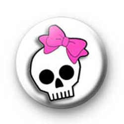 Skull with pink bow Badges