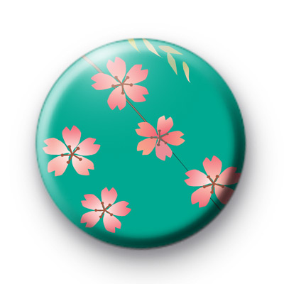 Cute Pink and Blue Flower Blossom Badge