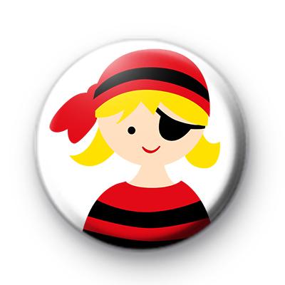 Jolly Roger Pirate Girl Badge