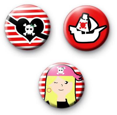 Set of 3 Pirate Princess Button Badges