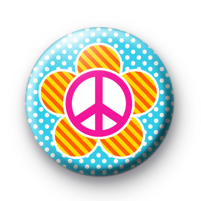 Pop Peace Flower Button Badges