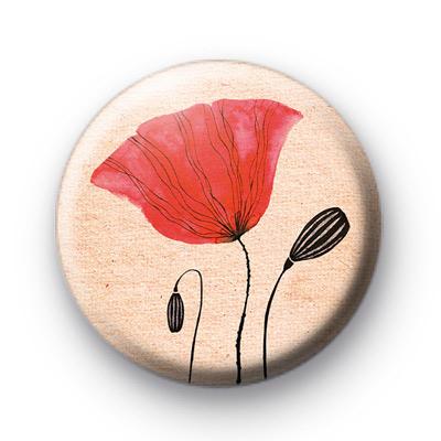 Red Poppy Flowers Badges