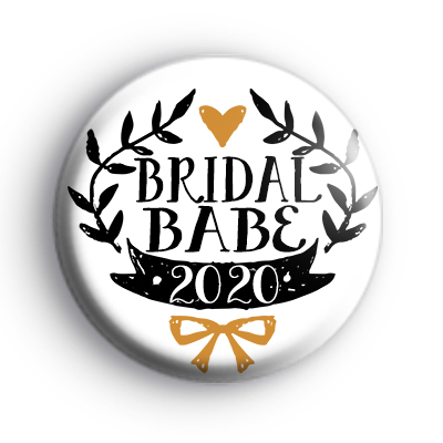 Pretty Black and Gold Bridal Babe 2020 Badge