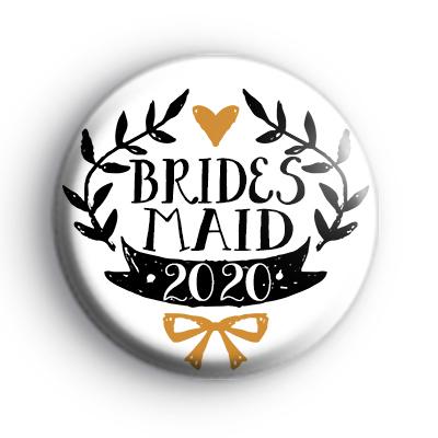 Pretty Black and Gold Bridesmaid 2020 Badge