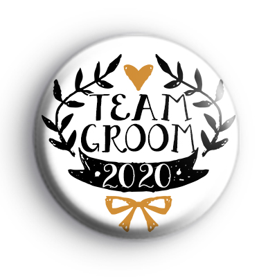 Pretty Black and Gold Team Groom 2020 Badge