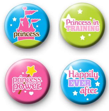 Set of 4 Princess Button Badges