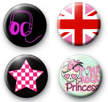 Set of 4 Punk Rock Princess Badges