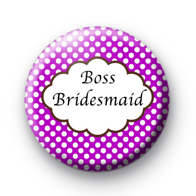 Purple Polka Dot Boss Bridesmaid Badges