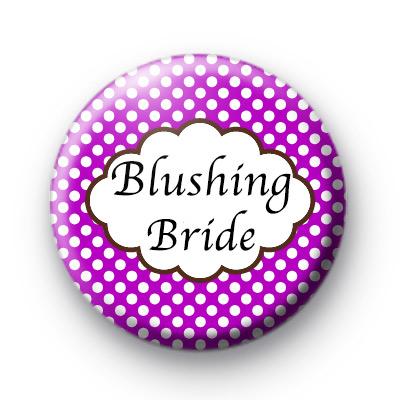 Purple Polka Dot Blushing Bride Badges