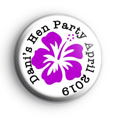 Purple Flower Hen Party Badge