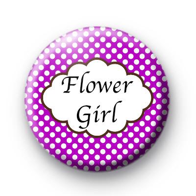 Purple Polka Dot Flower Girl Badges