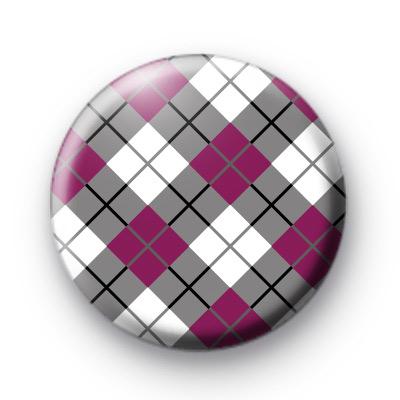 Purple and Grey Argyle Pattern button Badge