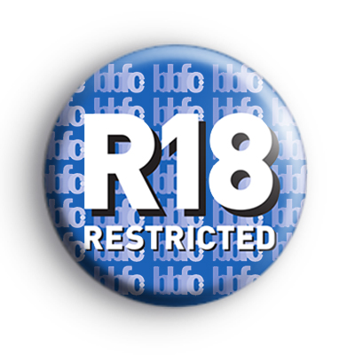 R 18 Rating Button Badge