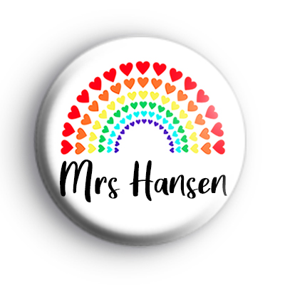 Personalised Teacher Rainbow Love Hearts Badge