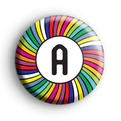 Bright Rainbow Initial Letter Badge
