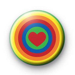 Bright Rainbow Heart Badges